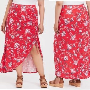 Torrid Floral Print Jersey Maxi Skirt Ruched 2X